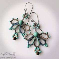 Lace earrings handmade hand dyed ecru turquoise jade by yarnplayer
