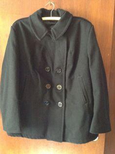 Authentic Women's US Navy Pea Coat 100% Wool Size 16S Sterlingwear of Boston EUC