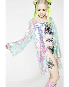 Moon River Sequin Kimono Festival Wear, Festival Fashion, Sequin Kimono, Women's Fashion, Fashion Outfits, Fashion Design, Alien Girl, Moon River, Holographic Glitter