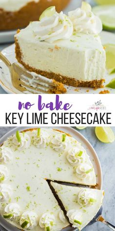 This easy Key Lime Cheesecake is a simple, no bake dessert that is perfect for Spring! It's sweet, tangy, creamy and so luscious! No Bake Key Lime Cheesecake Miri simpletoxic Rezepte This easy Key Lime Cheeseca Lime Cheesecake No Bake, Cheesecake Desserts, No Bake Desserts, Easy Desserts, Key Lime Desserts, Simple Cheesecake Recipe, Summer Cheesecake, No Bake Cheescake, Health Desserts