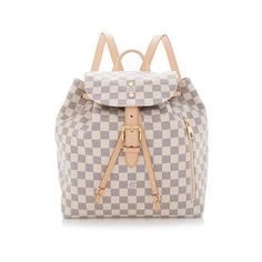 Rental Louis Vuitton Damier Azur Sperone Backpack ($215) ❤ liked on Polyvore featuring bags, backpacks, white, draw string backpack, louis vuitton backpack, rucksack bag, day pack backpack and louis vuitton knapsack