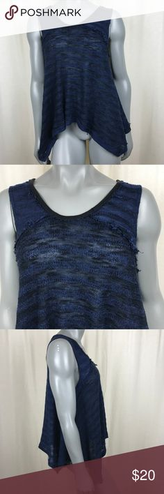 We The Free People Womens Medium Navy High Low We The Free Medium Blue Sleeveless Cotton blend Free People Tops Camisoles