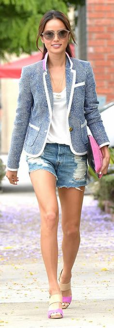 Jamie Chung Preppy Look in Shorts