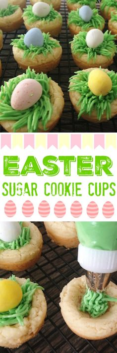 These cute Easter Sugar Cookie Cups make the perfect Easter treats for kids. Small, bite-size sugar cookies that are filled with vanilla buttercream grass and topped with a chocolate egg. #easter #eastertreat #eastercookiedecorated #sugarcookie recipe