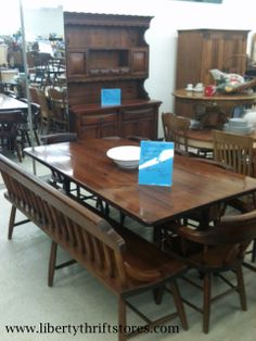 Dining Room Table W Deacon Bench Chairs And Matching Hutch