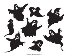 Set of ghost silhouettes featuring ghosts with different expressions and shapes…