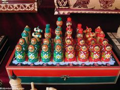 Handpainted Russian nesting doll chess sets can be found at the Izmailovsky Market