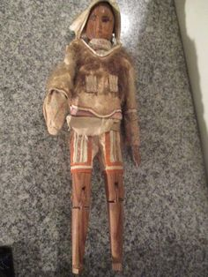 "Antique carved wooden face Eskimo Doll 15"""" tall 