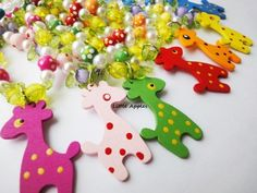 Party Favors Girls Red Orange Yellow Blue Green Wood Giraffe Necklaces | LittleApples - Children's on ArtFire