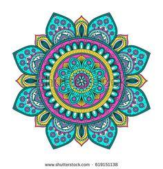 Vector hand drawn doodle mandala with tracery. Ethnic mandala with colorful ornament. On white background. Mandala Art, Mandala Doodle, Mandala Drawing, Mandala Painting, Mandala Pattern, Abstract Pattern, Mandala Crochet, Mandala Wallpaper, Circle Art