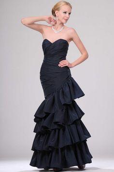 Wishesbridal Blue Taffeta Prom Dress With Tiered