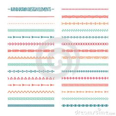 Ethnic hand drawn vector line border set and Bullet Journal Banner, Bullet Journal Art, Bullet Journal Ideas Pages, Bullet Journal Inspiration, Typography Drawing, Bujo Doodles, Doodle Frames, Doodle Borders, Marker Paper