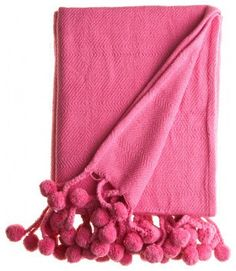 Pom Pom Throw- Pink - and lots of other colors
