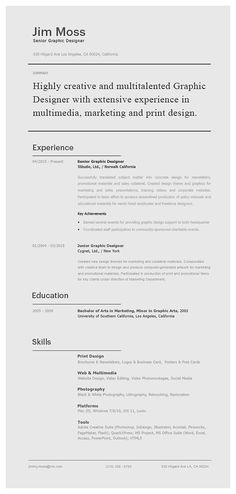 Senior Graphic Designer Resume 41 Best Ms Word Classic Resume Images On Pinterest