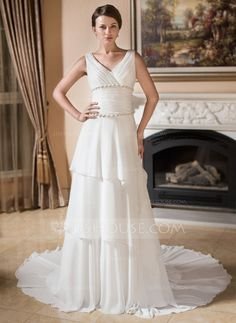 A-Line/Princess V-neck Chapel Train Chiffon Wedding Dress With Ruffle Beading (002001318)