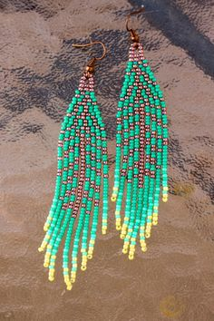 Seed Beaded Feather Earrings,Native Indian Turquoise Tribal~Bohemian Leaf Inspired Bead Work~Long Bohemian Fringe~Seed Bead Native American by NativeStyles on Etsy
