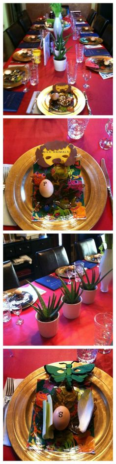 PASSOVER SEDER TABLE! The tablecloth represents the blood, aloe plants represent the desert, frogs and locusts are on each plate, as well as masks of the plagues worn by the children and adults. Fun! | The Jewish Hostess