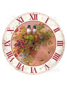 Clock-DIY Clock Face with Vintage Image of Birds and Berries