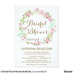 Colorful Floral Wreath Bridal Shower Invitation