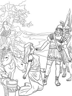 David and Abigail coloring page from King David category. Select from 22641 printable crafts of cartoons, nature, animals, Bible and many more.