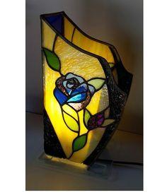 lampe fleur Tiffany bleu et jaune art Nouveau : Luminaires par atelier-chaignay