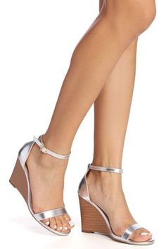 This particular pair will never perform you wrong! These wedges feature a single strap upper, an ankle strap with buckle, along with a piled wedge heel. These are manufactured of a faux suede fabric. #promheelsgold #promheelsgold #promheelswedges #promheelswedges #shoespromheels #promheels3inch