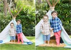 Teepee Mini Sessions! Newport Beach Children's Photographer, CA, Cali, California, Outdoors, Fun, Adorable, Cute, Summer, Pretty Day, Sunny, Brothers, Boys, Teepee, Mint, Grey, Blue, Tan Rug, Fuzzy Rug, Checkered Shirts, Coral Pants, Blue Shorts, Love, Siblings, Family GilmoreStudios.com