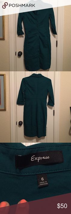 WORN ONCE. Express Collared shirt dress. Blue green color. EUC. 3/4 sleeves. Has a belt loop. Cheaper on Merc. Express Dresses Midi