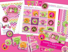 Owl Birthday Girl DIY Party Printables by CreativeStationery, $19.99