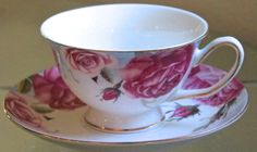GRACE'S TEAWARE TEACUP & SAUCER SET PINK ROSE VINE GOLD RIM PORCELAIN NEW  | eBay