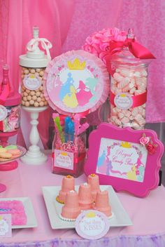 ALL PRINCESSES Party - COMPLETE- Girls Birthday Party - Pink Princess Party- Printables - INSTANT Download Princess Punch, Pink Princess Party, Princess Birthday, 5th Birthday, Princess Party Centerpieces, Princesse Party, Crown Cookies, Castle Crafts, Royal Tea Parties