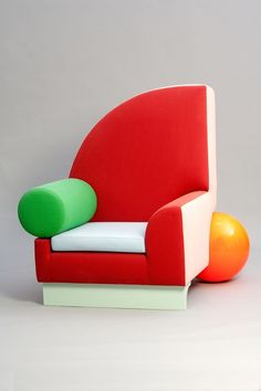 Peter Shire, Bel Air (armchair), 1982, Wood and cotton fabric. Private collection, courtesy Dixon Gallery and Gardens