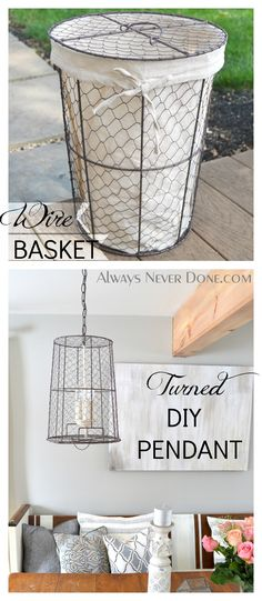 Take a wire basket and some old lighting and turn it into Re-Purposed Pendant lights.