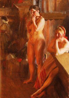 "Anders Zorn (1860-1920) Eldsken Oil on canvas 1905 107.5 x 82.6 cm (42.32"" x 32.52"")"