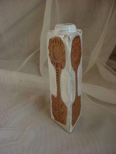 Vintage Uccti Vase Glazed Clay MOD with Flower 1970s Japan Triangular 7 inch
