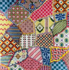 Patchwork Needlepoint Pillow  10 mesh by DoolittleStitchery, $60.00