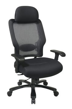 Space Seating® Big and Tall Professional AirGrid® Back and Black Mesh Seat with Adjustable Headrest