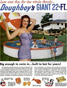 Doughboy's giant 22-foot swimming pool (1955) - Click Americana