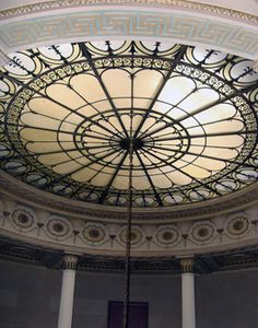 Amazing first quarter 20th century Beaux Arts style leaded glass ceiling skylight of circular form. Provenance: Mass. Mutual Insurance Building, New Haven, CT.  (removed before demolition)