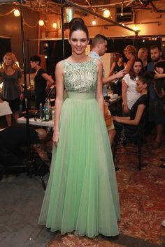 Celebrity Inspired Dresses Mint Green Beaded Top Tulle Prom Dresses Kendall Jenner Celebrity Dresses 2015