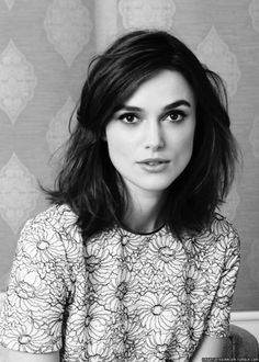 Keira Knightley's brunette long bob worn in a tousled style #lob