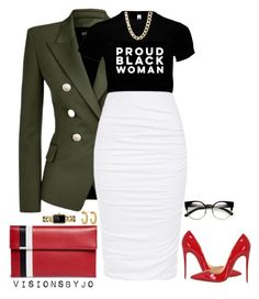 """""""Untitled #1620"""" by visionsbyjo on Polyvore featuring Balmain, Tomasini, Christian Louboutin, Charlotte Russe, Jennifer Fisher and Chanel"""