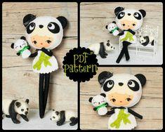 PDF. Panda bear girl with puppet. Plush Doll Pattern, Softie Pattern, Soft felt Toy Pattern.. $7.00, via Etsy.