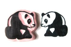 Panda Hand Carved Stamp Panda Rubber Stamp by SweetSpotStampShop, $6.99