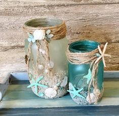 Sea Glass Candle Holder, Boho Beach Decor, Beach Candle Holder, Shell Candle Holder, Coastal Candle – Home Design Arts Seashell Crafts, Beach Crafts, Seashell Decorations, Easy Decorations, Mason Jar Crafts, Bottle Crafts, Mason Jars, Deco Theme Marin, Shell Candles