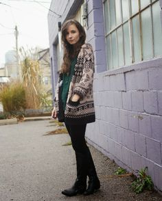 #OOTD with a Fair Isle cardigan, velvet pants, and hunter green shirt.
