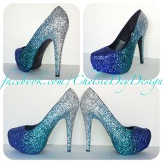 Faded Blues Glitter High Heels by ChelsieDeyDesigns on Etsy, $105.00