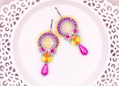 Soutache statement colorful beaded handmade teardrop earrings with beads for her by nikuske on Etsy Teardrop Earrings, Crystal Earrings, Beaded Earrings, Etsy Earrings, Earrings Handmade, Handmade Jewelry, Soutache Bracelet, Soutache Jewelry, Beautiful Gift Boxes