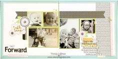 Stamping Rules!: Day 273: Oh Snap Fast Forward Album Retreat Layout - charlotte, la vie en rose, paper fundamental assortment, so many smiles stamp set