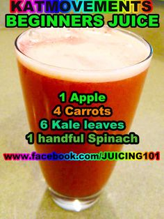 Juicing Vegetables & Fruit Here is a perfect juice recipe for anyone who has been juicing fruit and who wants to start including vital veggies into his/her combos! www.facebook.com/JUICING101 *Yields about 12 oz of juice *To Your Health! Kat =^.^=